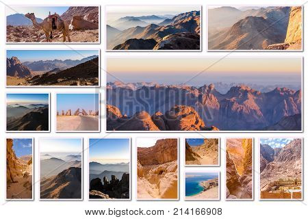 Egypt pictures collage of different famous locations landmark of Sinai Peninsula, Africa. poster