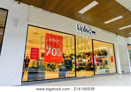 Penang Malaysia - Nov 11 2017 : Kipling shop. Kipling is a fashion brand founded in 1987 in Antwerp Belgium. Kipling brand is part of VF Corporation since 2004. Their most famous collection is Basic recognizable from its crinkle nylon fabric and its monke