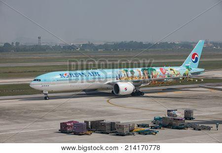 HANOI VIETNAM - NOV22017 : korean airline plane arrival to noi-bai airport in hanoi city vietnam capital
