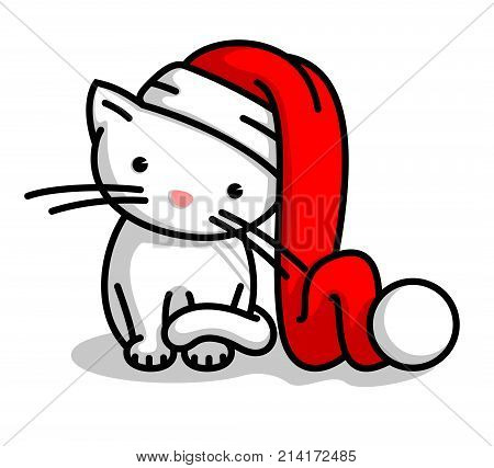 Cute Little Santa Claus Christmas Kitten. Vector Illustration Of A Baby Cat Wearing Santa Claus Hat.