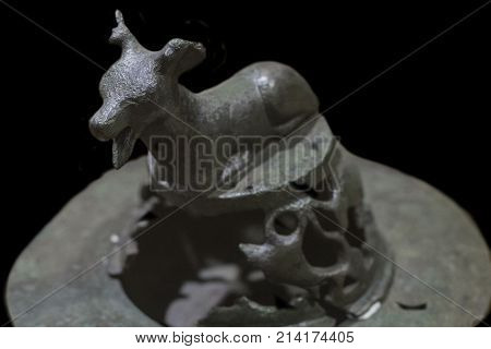Caceres Spain - October 29 2017: Deer shaped small bronze brazier from Caceres Archaeological Museum