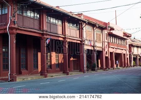 Old Building Of Melaka City With Road