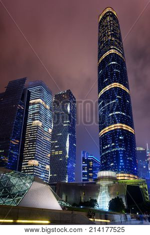 Night View Of Skyscrapers In Guangzhou, China