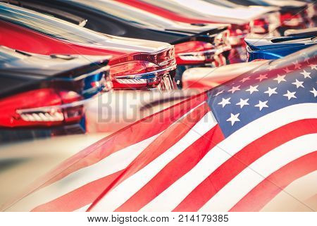 Buying American Made Cars. Supporting American Economy Concept Photomontage with Cars and USA Flag