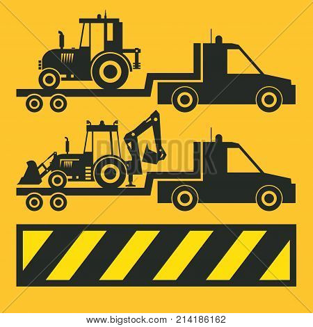 Tractor transportation icon or sign on yellow background. Tractor grader bulldozer silhouette vector illustration