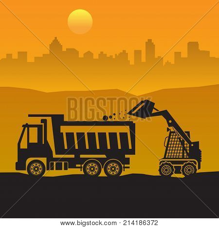 Tractor on work at construction site. Tractor grader bulldozer silhouette vector illustration