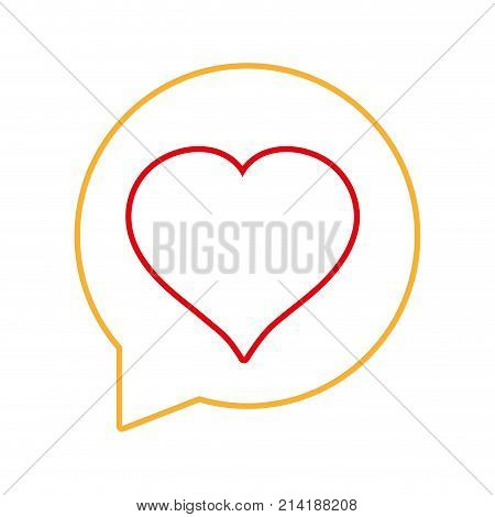 line chat bubble with heart inside to love message vector illustration