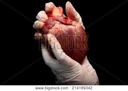 Abstract Illegal Organ Transplantation. A Human Heart In The Hand Of A Surgeon Woman. International