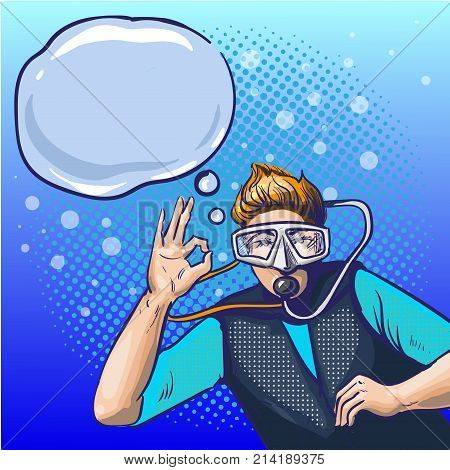 Vector illustration of swimming underwater man in scuba diving equipment showing ok hand sign. Diver male in retro pop art comic style.