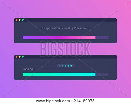 Progress loading bar. Vector progress upload indicator bar