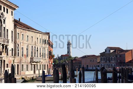 Houses Of The Island Of Murano Near Venice In Italy