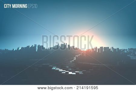 City morning landscape. Cityscape vector background. Urban morning illustration with fog