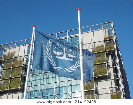 The Hague Netherlands - November 3 2017: The flag and the main building of International Criminal Court.