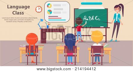 Language class vector image depicting classroom, studying pupils, school furniture with stationery and teacher standing near blackboard with place for text.