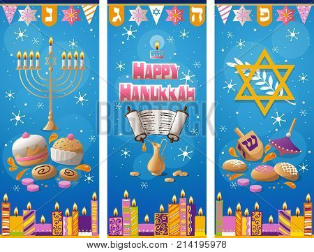Happy Hanukkah greeting card hand drawn winter background