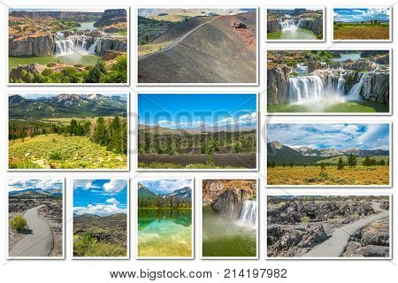 Collage on white background of several landmark locations: Craters of the Moon, Idaho Falls, Sawtooth National Forest in Idaho, United States.
