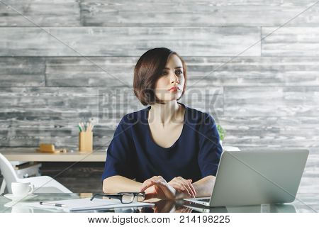 Attractive Business Woman Working On Project