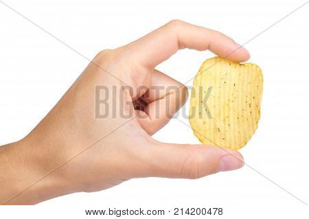 Tasty Corrugated Chips In Hand Isolated On White Background, Potato Chips, Unhealthy Food, Many Fat