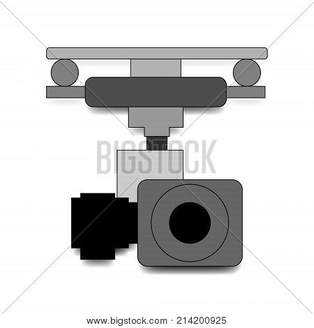 Action camera in waterproof box isolated on white background. Gear for shooting extreme sports. Action cam.