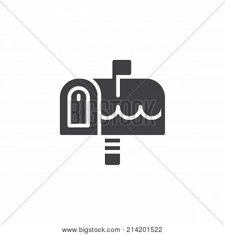 Christmas outdoor mailbox icon vector, filled flat sign, solid pictogram isolated on white. Holiday post symbol, logo illustration.