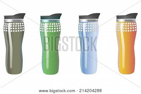 Mock up of thermos cups. Mugs of different colors for hot coffee tea and water. Isolated vector illustration on white background.