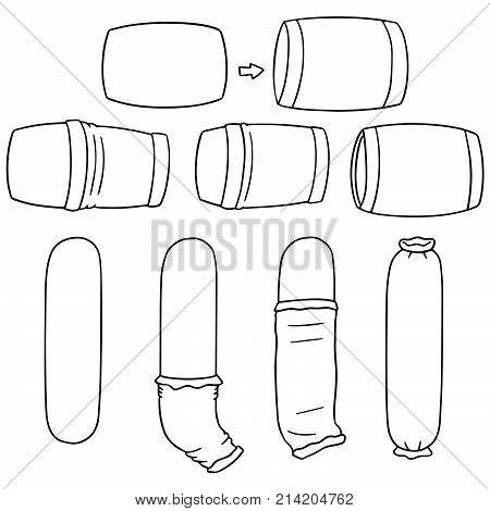 vector set of put on pillowcase hand drawn cartoon