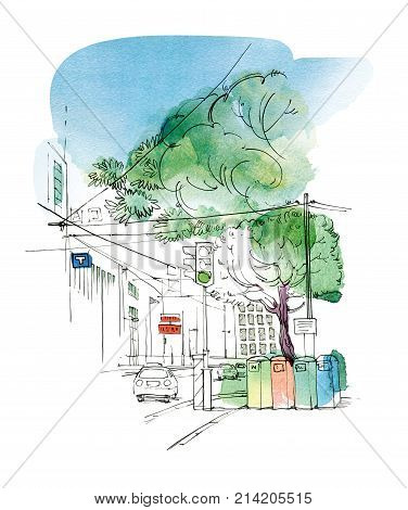 Sketch of the city landscape with a car traffic lights and tanks for separate collection of garbage. Graphic arts. Raster illustration with elements of watercolor