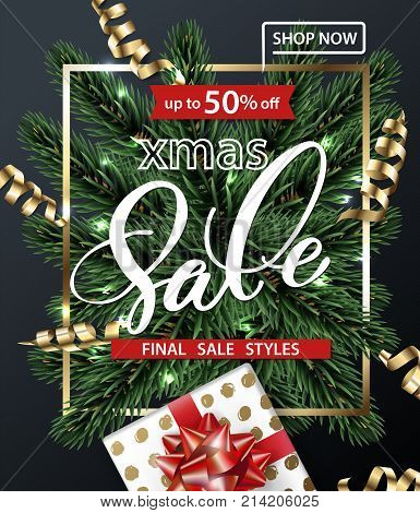 Merry Christmas and Happy New Year pattern of sales banners with Christmas branches, Christmas gift with decorations on dark background. Sale concept. Vector illustration.