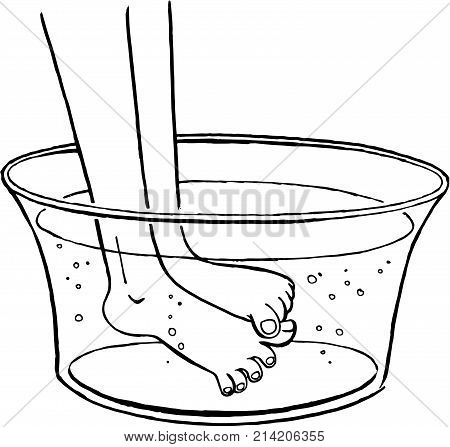 Illustration of feet being washed in a basin. A wash basin is filled with water. There are some bubbles in water. A desaturated vector image. Black and white contours.