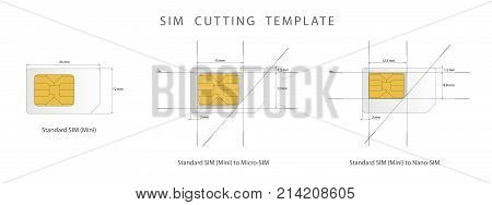 Sim Card Cutting Template. Standard, Micro And Nano-sim Card. Vector Illustration.
