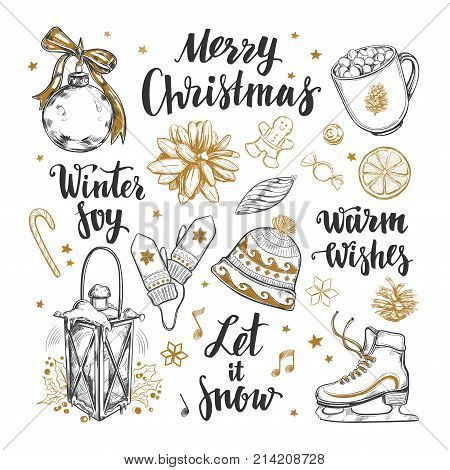 Merry Christmas and Happy New Year set. Vector hand drawn winter elements and Modern brushpen Calligraphy. Winter Joy. Let it snow. Warm Wishes Lettering