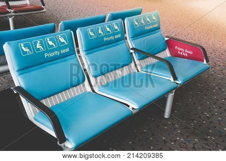 Priority Seats In International Airport Reserved For Disability, Pregnant, Child, Senior People And