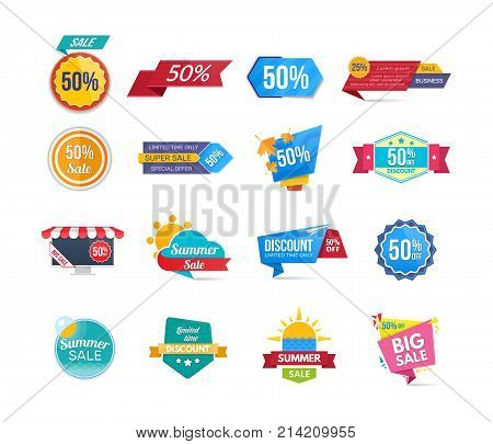 Big set of design sale banners and discount stickers. Collection colorful stickers shopping, promotions. Special offer templates. Super sale, black friday, discount labels. Flat design sale stickers.