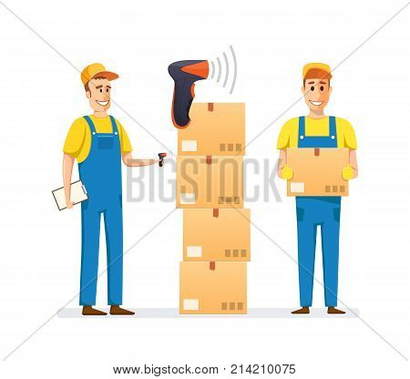 People scanning boxes of goods, products, bar code scanner. Box cardboard, package. Pile of stacked sealed goods cardboard boxes. Gift, cargo delivery, parcels, freight. Illustration in cartoon style.