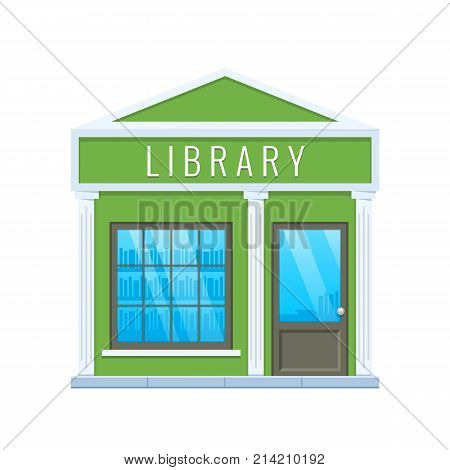 Concept of modern city school library building facade. City education building. Street public library, learning for people. Learning, education, knowledge, study. Urban landscape. Vector illustration.