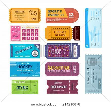 Set of tickets on events: sports competitions, lottery ticket, club, circus, airfare, train trip, hockey, amusement park, bus, concert, tickets for movie hall theater cinema Vector illustration