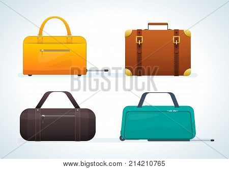 Set of realistic travel leather bags and suitcases, on wheels and without them. Journey package, business travel bag, trip luggage. Collection different bags, suitcases, luggage. Vector illustration.