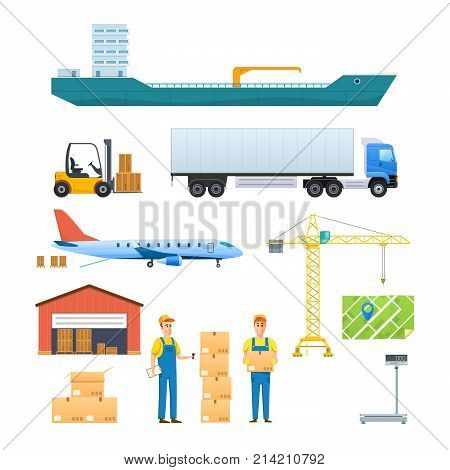 Logistics and transportation, delivery services, opened box. Delivery by air, train, ship, road transport, manual delivery, air mail. Vehicles, navigation gps Vector illustration in cartoon style