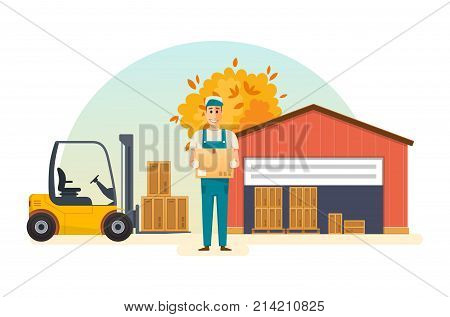 Autumn warehouse parts boxes on wooden pallet, ready to loading. Cargo delivery, shipping, transportation. Loader man, folds cardboard boxes, taking them on loader from warehouse. Vector illustration.