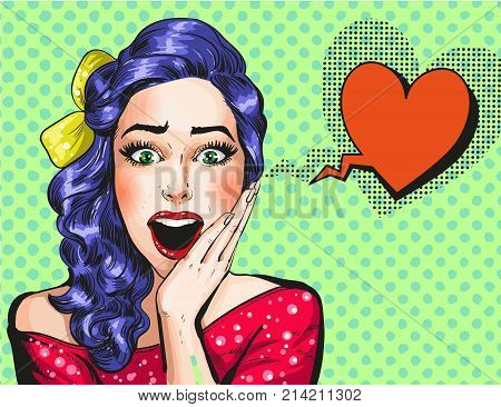 Vector illustration of beautiful pin-up wonder girl with heart shaped speech bubble. Happy surprised falling in love girl in pop art retro comic style.