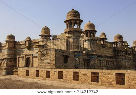 Gwalior fort in Madhya Pradesh in summer, India.