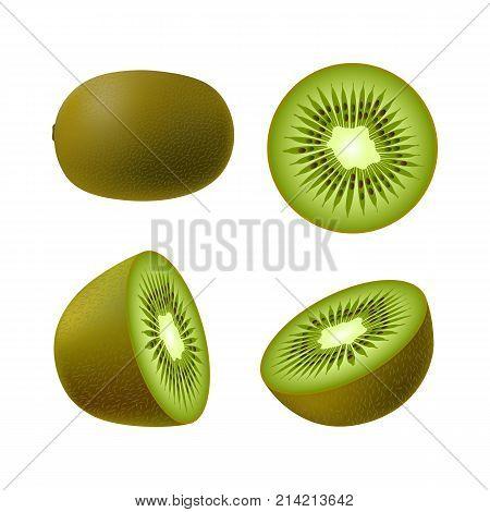 Set of isolated realistic colored whole juicy kiwi half green kiwi and kiwi circle on white background. Realistic fruit collection
