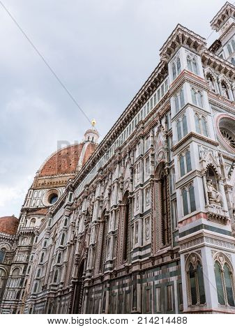 Exterior of the cathedral or duomo of Florence, offically called Basilica of Santa Maria del Fiore