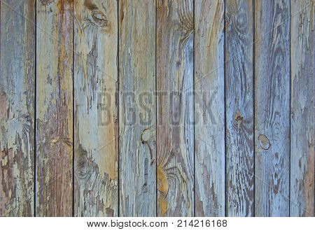 blue old wooden fence. wood palisade background. planks texture