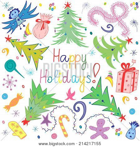 Happy Holiday!Colorful Children Drawings of Fir trees Arranged in a Circle. Funny Doodle Candies Garlands Gifts and Angel. Vector Illustration.