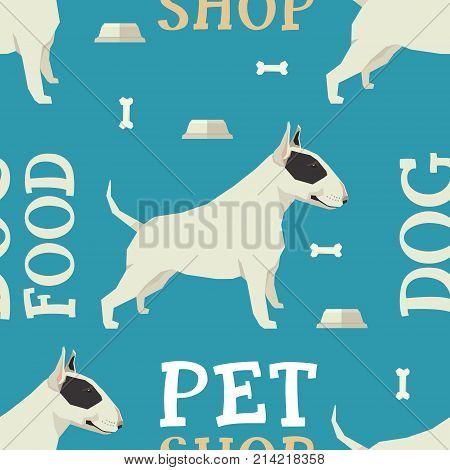 Pet shop Dog food seamless pattern Bull terrier set
