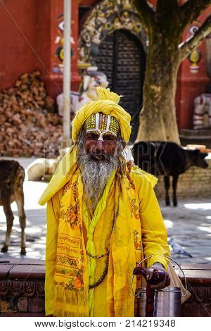 A Nepali Sadhu In Colourful Clothes