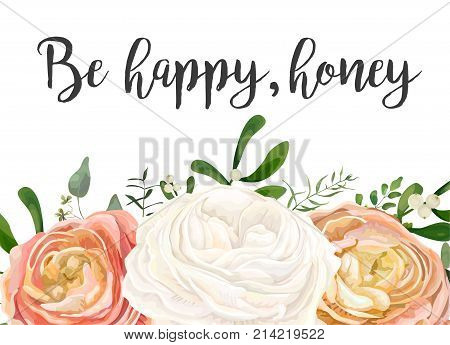 Vector floral design card. Peach pink white garden Rose Ranunculus flowers eucalyptus seeded branch mistletoe leaves berry bouquet. Greeting postcard wedding invite. Frame border.