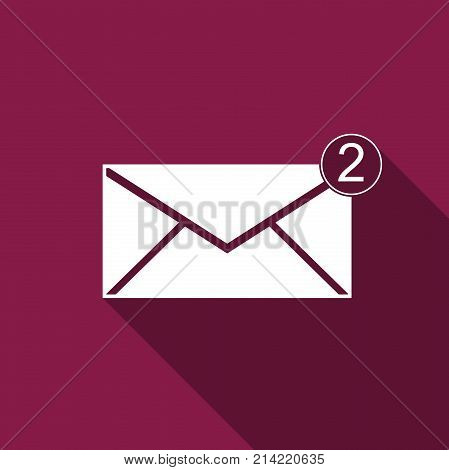 Received message concept. New, email incoming message, sms. Mail delivery service. Envelope icon isolated with long shadow. Flat design. Vector Illustration