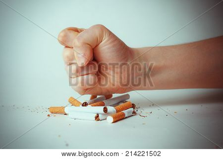 concept , no smoking, Cigarette is dangerous concept World No Tobacco Day. toned